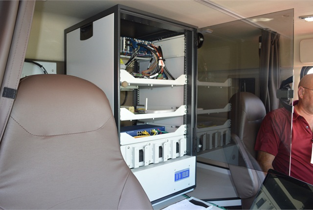 Sleeper compartment housesthe information hub, gathering data from various sensors and an in-cab video camera and matching it with satellite positioning data as the truck moves along a highway. Photo: Volvo Trucks