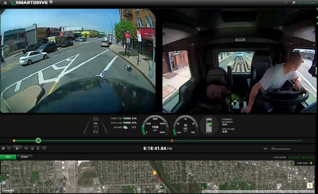 An event view captured for saefty analysis and driver coaching. Image: SmartDrive