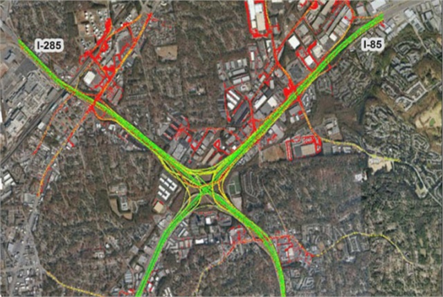 Atlanta's Spaghetti Junction topped ATRI's list of the worst truck bottlenecks for the third year in a row. Image via ATRI.