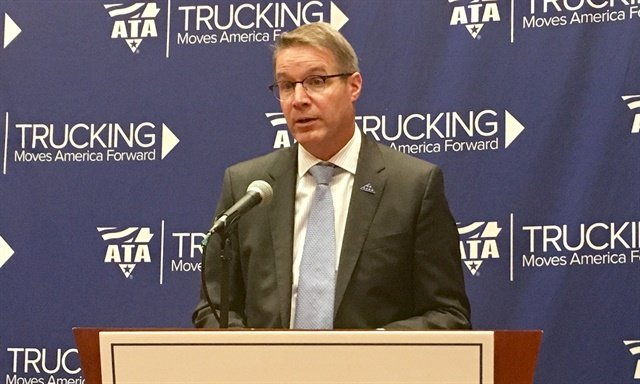 Chris Spear speaking to the press on ATA's stance on proposed speed-limiter rule. Photo: David Cullen