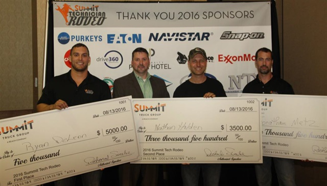 [Left to right] Ryan Deleon, 1st Place Overall; Duke Fancher, Vice President of Service Operations; Nathan Holden, 2nd Place Overall; and Jonathan Metz, 3rd Place Overall Photo: Summit Holdings
