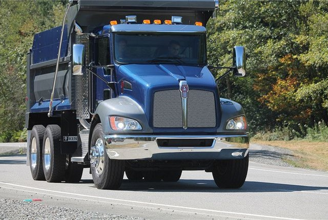 The Bendix Wingman Advanced system is now available for order as an option for the Kenworth T370 medium duty truck in certain vocational applications such as aggregate hauling. Photo: Kenworth