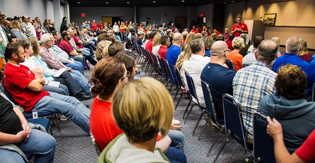 A standing-room-only crowd of CFI employees at the Joplin, Mo., headquarters learn about the transition. Photo: CFI