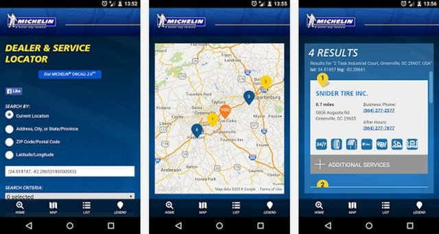 The Michelin Dealer Locator App: via Google Play Store.
