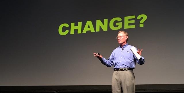 Tom McLeod talks change at the McLeod Software user conference. Photo: Deborah Lockridge