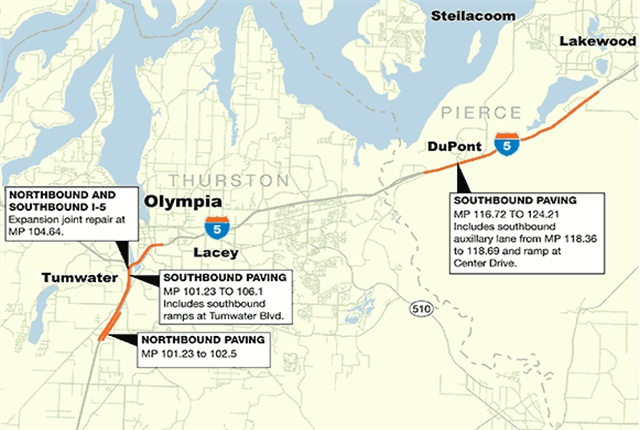 Map of theaffected areas. Graphic via WSDOT.