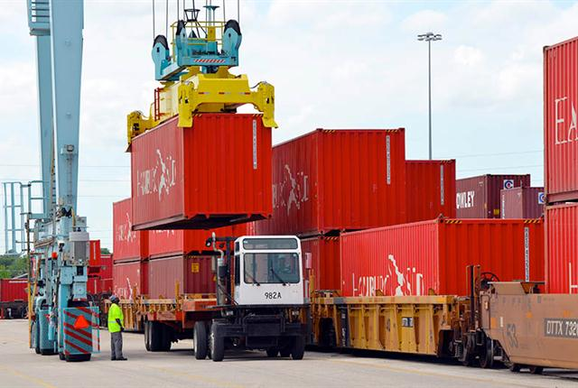 Intermodal containers transferring from rail at the Port of Jacksonville.