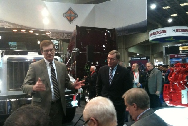 Navistar Canada president Marc Belisle (left) and Troy Clarke took questions following the announcement that ISX15 is now ready for orders in the 9900i and Paystar 5700. Deliveries are expected by early summer.