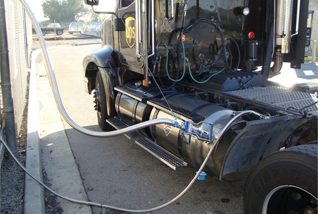 UPS LNG tractor being refueled. Photo: UPS