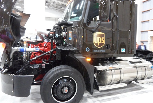 At the ACT Expo in Washington, D.C., Mack displayed a Pinnacle tractor like the 122 just ordered by UPS. It has a Cummins ISX12 G engine that runs on liquefied natural gas instead of compressed NG.