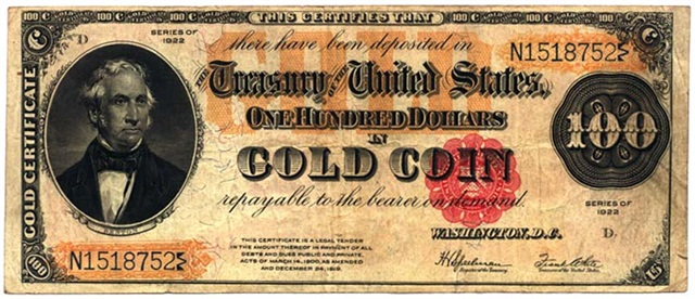 Forbes predicted a return to the gold standard. Gold certificates like this one from 1922 were used as paper currency in the U.S.from 1882 to 1933.