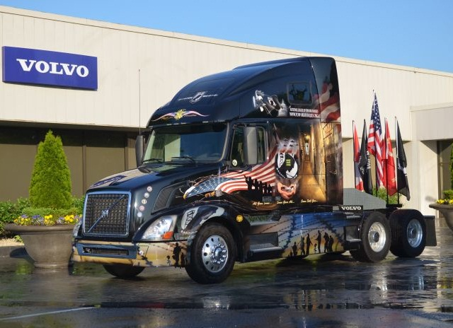 This Volvo VNL 670 is adorned with graphics saluting all military service members. Photo courtesy of Volvo