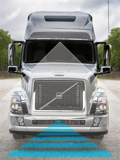 Volvo Active Driver Assist uses the Bendix Wingman Fusion system, combining camera and radar for accurate object detection. Photo: Volvo Trucks North America