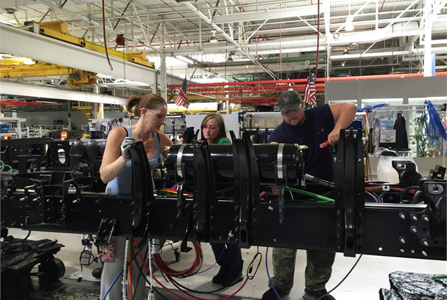 Workers on the plant line at Volvo's New River Valley Plant in Dublin, Va. Photo by Deborah Lockridge.