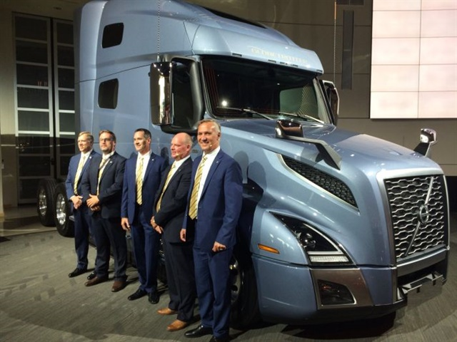 Volvo executives (left to right) John Mies, Rikard Orell, Jason Spence, Magnus Koeck and Göran Nyberg celebrate the launch of the new VNL tractor in New River, VA, on July 12, 2017. Photo: Jack Roberts