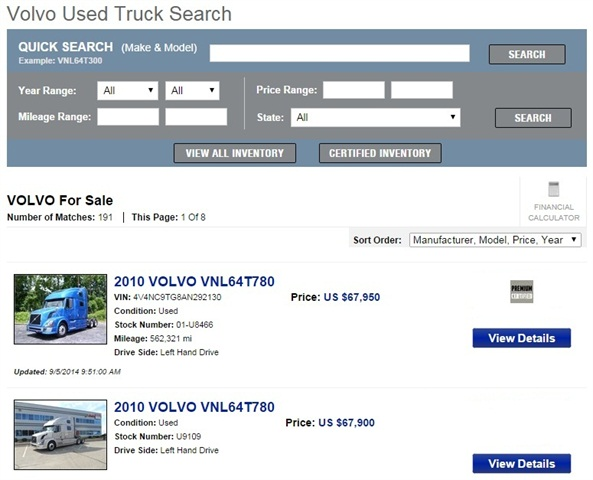 The Volvo Used Truck Search: via Volvo Trucks.