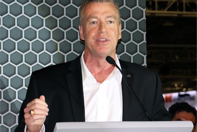 John Walsh, vice president of marketing Mack,speaking atExpo Transporte on Tuesday. Photo: Evan Lockridge
