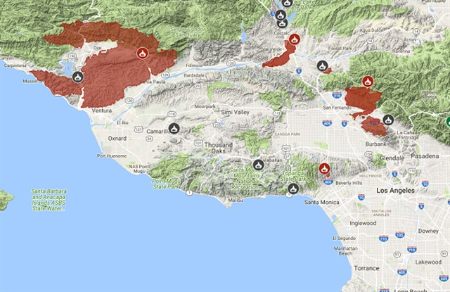 Map of wildfires burning in Los Angeles and Ventura counties Source: CalFire