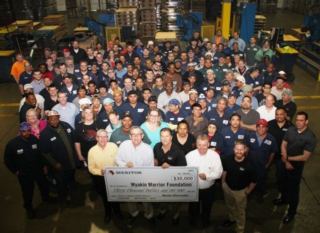Meritor presented the Wyakin Warrior Foundation with a 50,000 check to help wounded veterans. Photo courtesy of Meritor