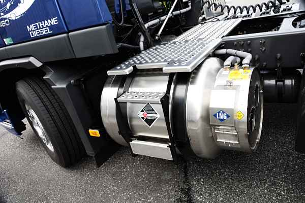 A Volvo FM with a liquified natural gas (methane)- and diesel-powered 13-liter engine with 460 horsepower and I-Shift transmission.