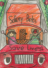 FMCSA's annual Be Ready, Be Buckled art contests gives children of truck and bus drivers a chance to get creative with safety. Here, a 2011 winner from Darby Kim of Centreville, Va.