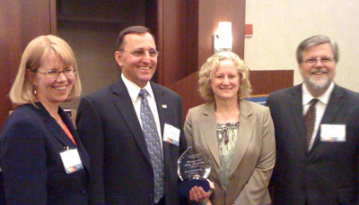 From left, FMCSA Administrator Anne Ferro, Don Osterberg, Dawn King and Jeffrey Burns.