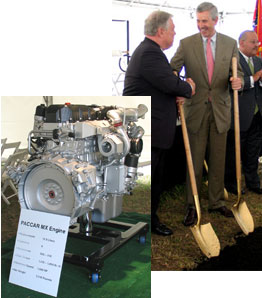 Paccar Chairman/CEO Mark Pigott, right, shakes hands with Mississippi Gov. Haley Barbour after lifting the first shovels of dirt at Paccar's new engine plant, which will produce 12.9-liter (shown) and 9.2-liter engines.