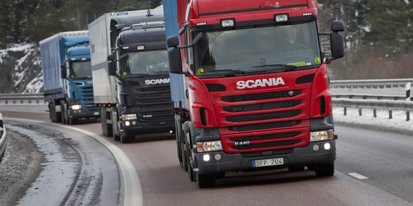 Scania cabover tractor-trailers conduct a platooning test on a track in Europe. Photo: Scania