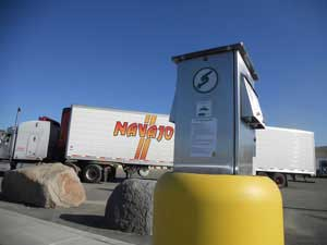 The Pilot Travel Center at Exit 745 on I-5 in Weed, Calif., has added shorepower pedastals.