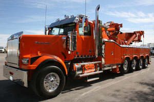 This Western Star on-highway rotary-boom wrecker was featured at an event in Las Vegas.