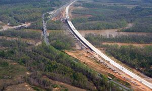This aerial photo shows the newly constructed I-85 North bridge over the Yadkin River in North Carolina's Davidson and Rowan counties. The new bridge, located on the right, will open to traffic this weekend. (Photo courtesy of NCDOT)