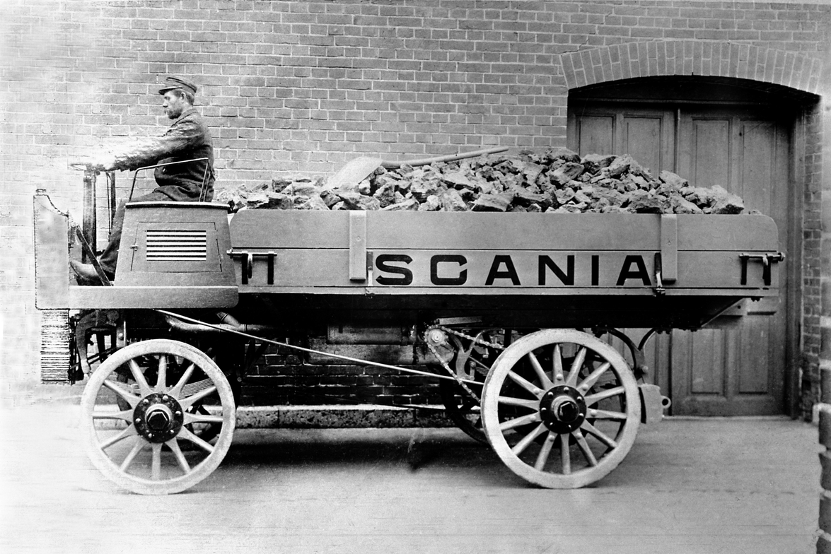 Scania's first truck dating from 1902. It carried 1.5 tons of cargo and was equipped with a...