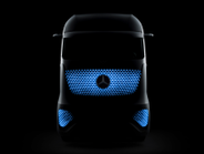 Instead of headlights, this truck uses LED lights that shine through the paint, but glow in...