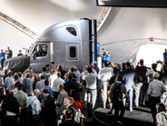 The press scrambles for the first photos of the Inspiration Truck. Photo: Daimler Trucks