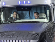 Nevada Gov. Brian Sandoval and Daimler Commercial Trucks head Wolfgang Bernhard drive off in the...