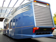 """The rear view of the """"aerodynamically optimized road train"""" from MAN and Krone displayed at last..."""