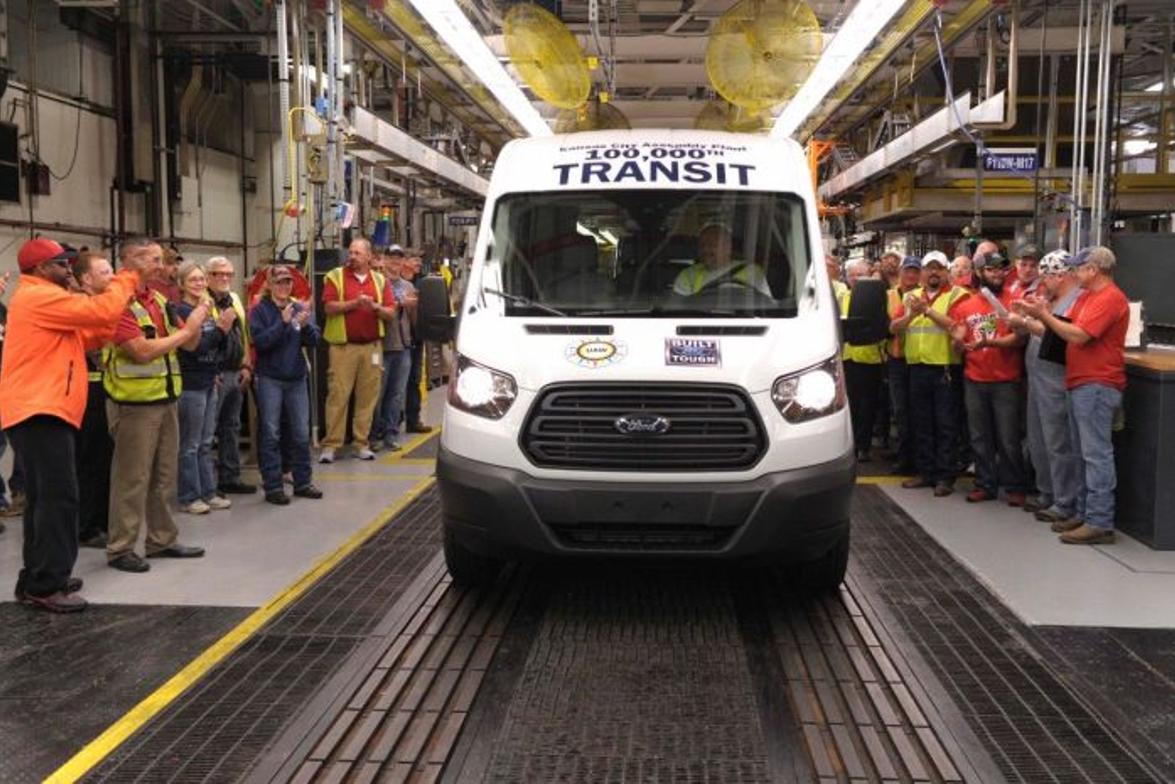 Ford has produced more than 100,000 Transit vans and wagons at Kansas City Assembly Plant during...