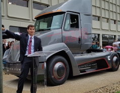 The truck is a 4x2 daycab tractor with full battery electric power producing zero tailpipe...