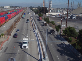 The main stretch of test roadway does not intrude on regular traffic in the area.  Photo: Siemens