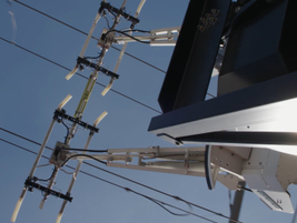 A computer and sensors help the pantograph connect properly to the wires once extended. Photo:...