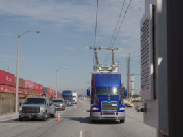 Test trucks are able to maintain highway cruise speeds using only electric power. Photo: Siemens