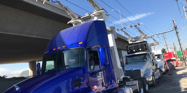 Trucks waiting to go on a test run near Long Beach, California. Photo: Siemens