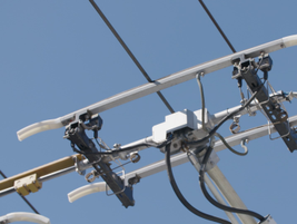 THe hook-like component that actually makes contact with the overhead powerlines is called a...