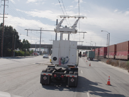 This rear view shows the lateral leeway drivers have to keep contact with the powerlines while...