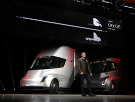 Musk showed two prototyle trucks during the vehicle launch in Los Angeles. Photo: Jack Roberts