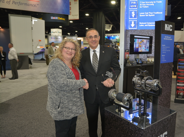 Accuride Chief Operations Officer Omar Fakhoury accepts the HDT Top 20 Products award for the...