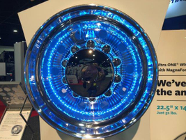 Alcoa lights up its wheels on the TMC show floor. Photo: Jack Roberts