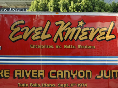 The restored trailer that Evel Knievel used to haul his stunt equipment.