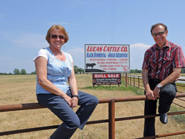 Charlotte and Forrest Lucas at Lucas Cattle Co., featuring over 2000 head of black Simmental...