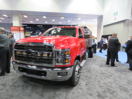 LIke its new medium-duty stablemates, the Class 6 Chevy Silverado 6500HD chassis cab is  powered...